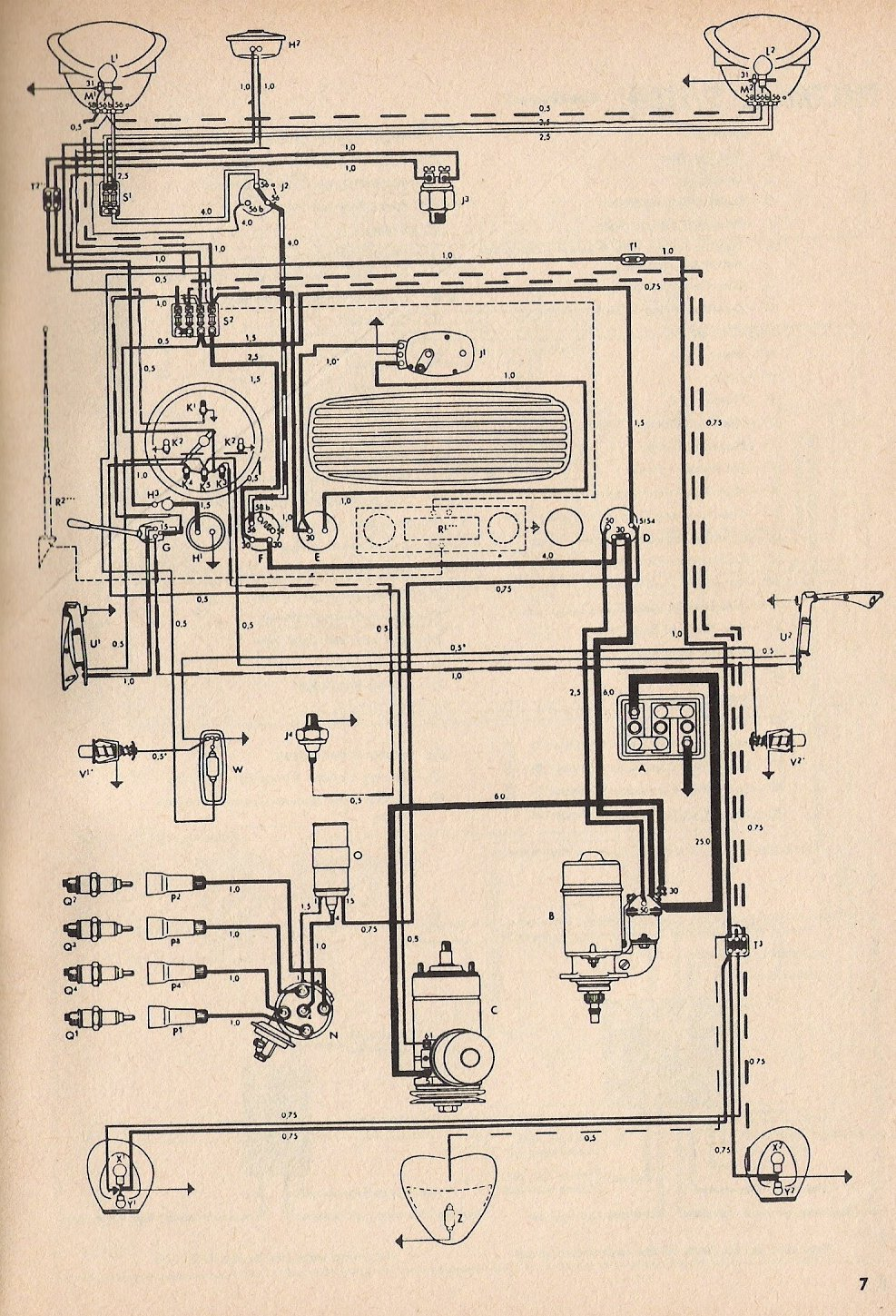 medium resolution of thesamba com type 1 wiring diagrams vw radio wiring diagram 1958 vw van wiring diagram