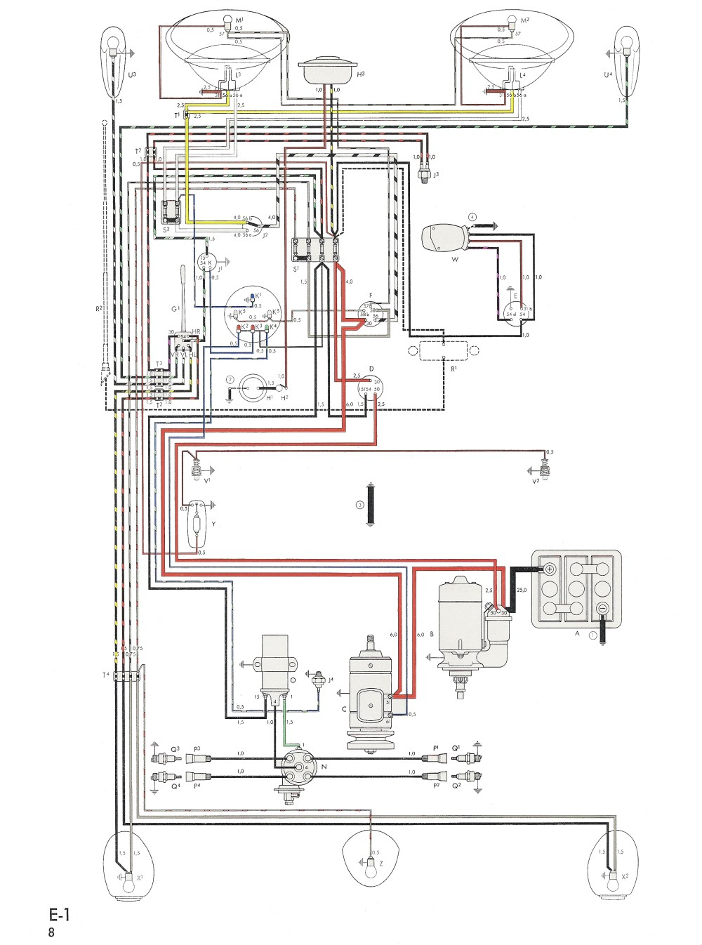 medium resolution of thesamba com type 1 wiring diagrams 70 vw beetle wiring diagram 70 vw wiring diagram