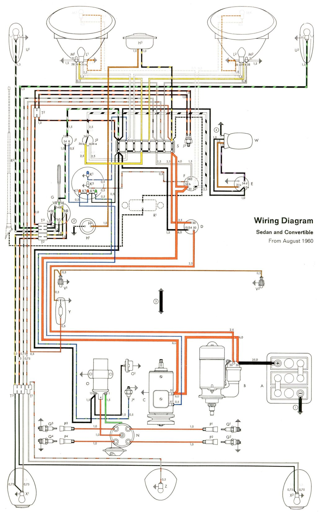 hight resolution of thesamba com type 1 wiring diagrams 1974 vw beetle alternator wiring diagram 1974 vw wiring diagram