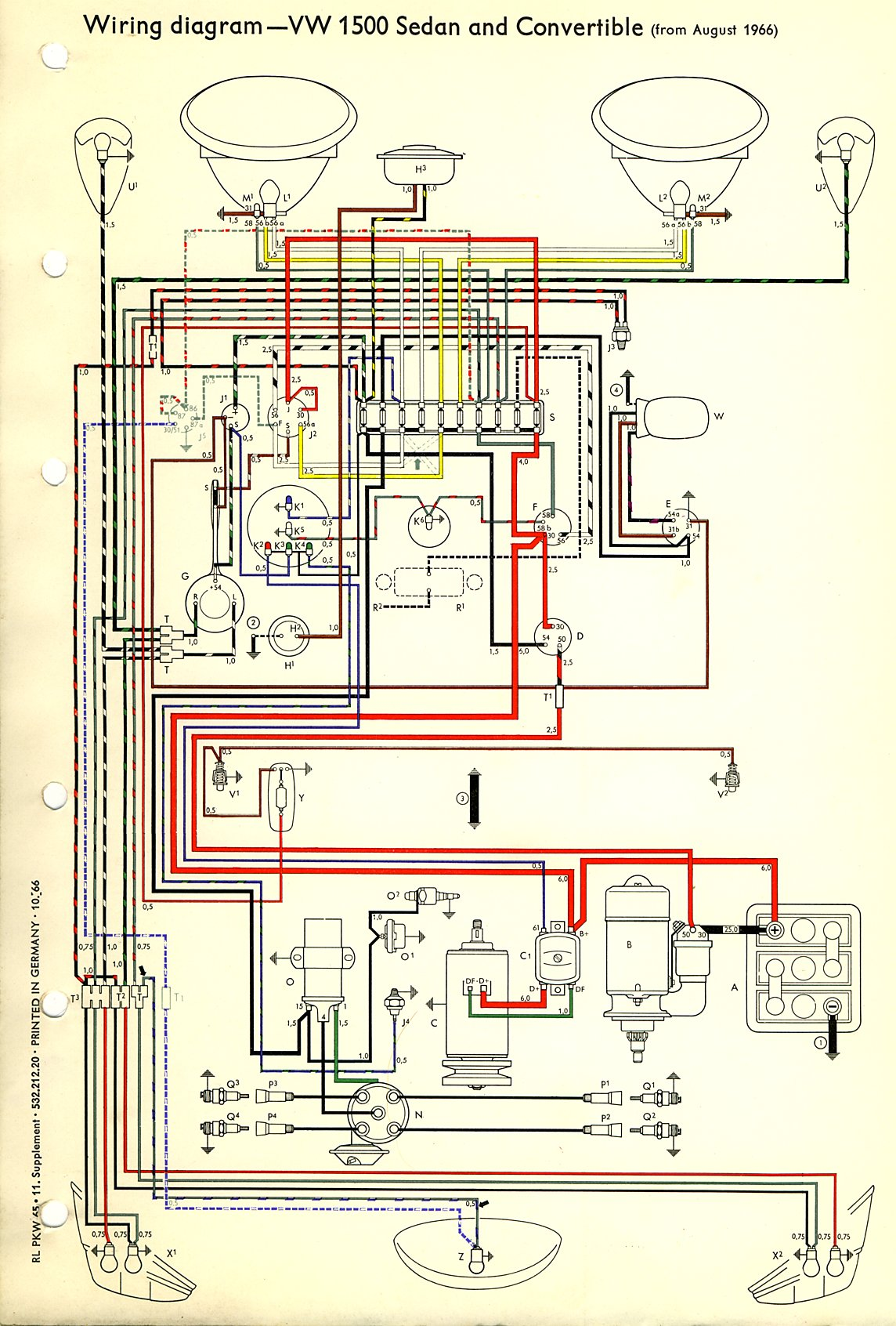 vw beetle wiring diagram led string lights thesamba type 1 diagrams