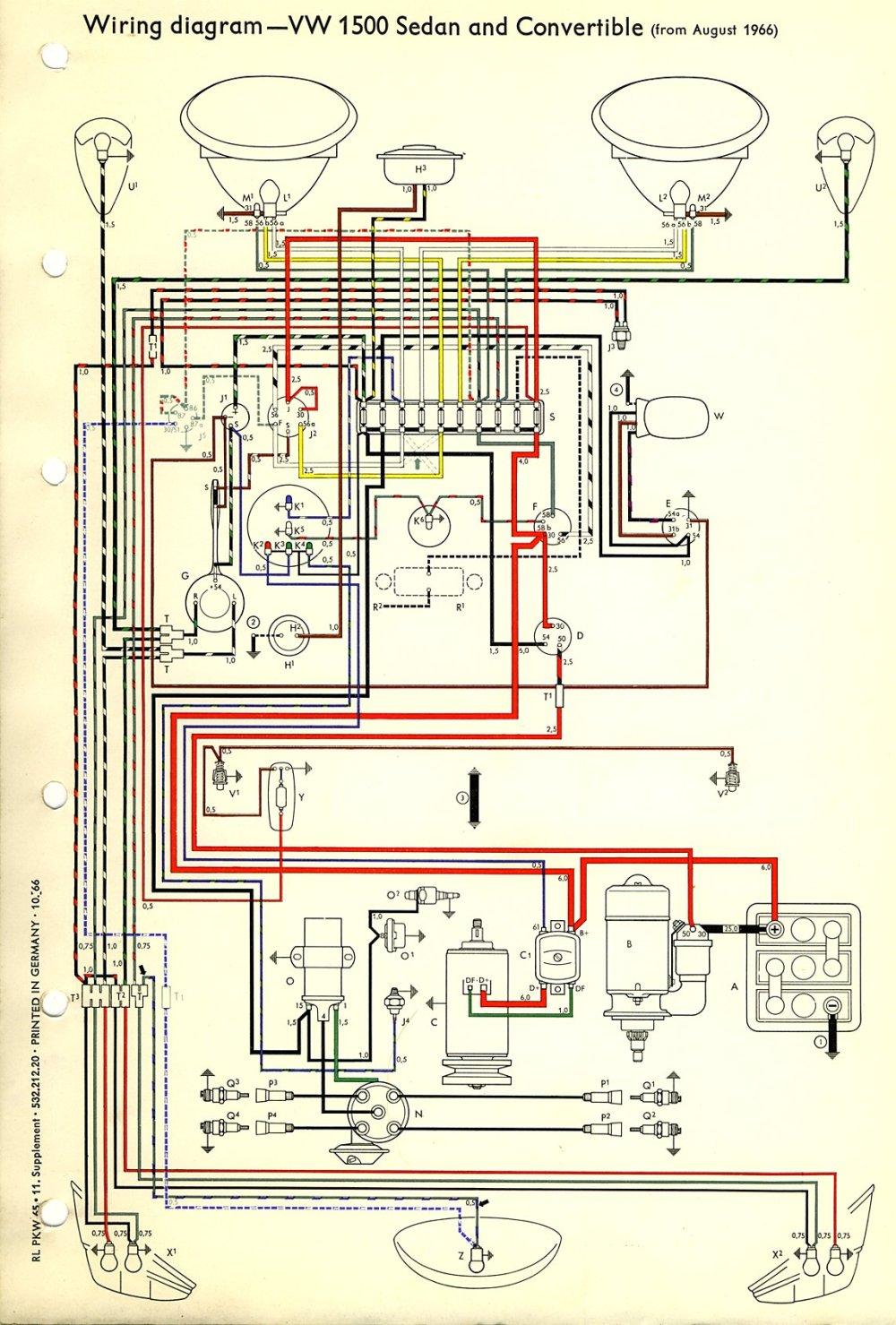 medium resolution of thesamba com type 1 wiring diagrams 1973 vw beetle wiring diagram standard 1973 vw beetle wiring diagram