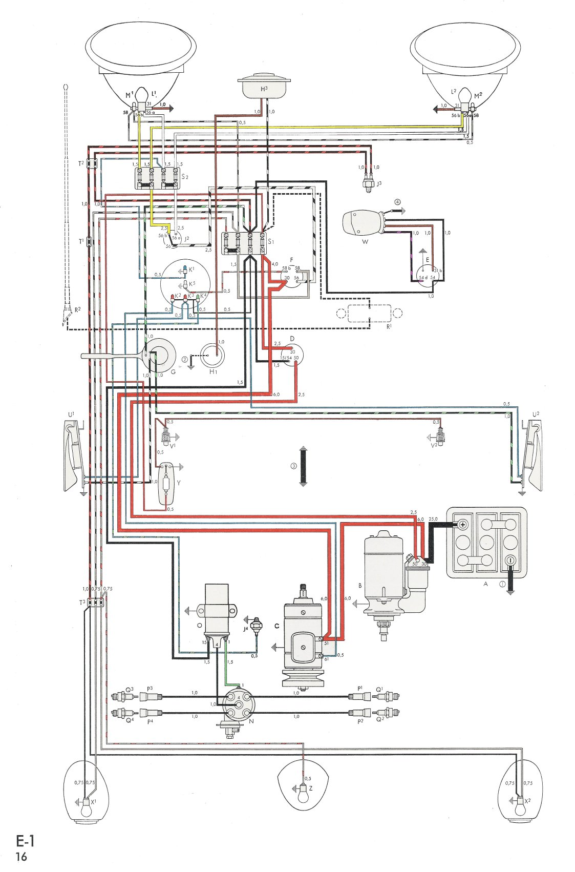 hight resolution of thesamba com type 1 wiring diagrams vw light switch wiring 58 vw alternator wiring