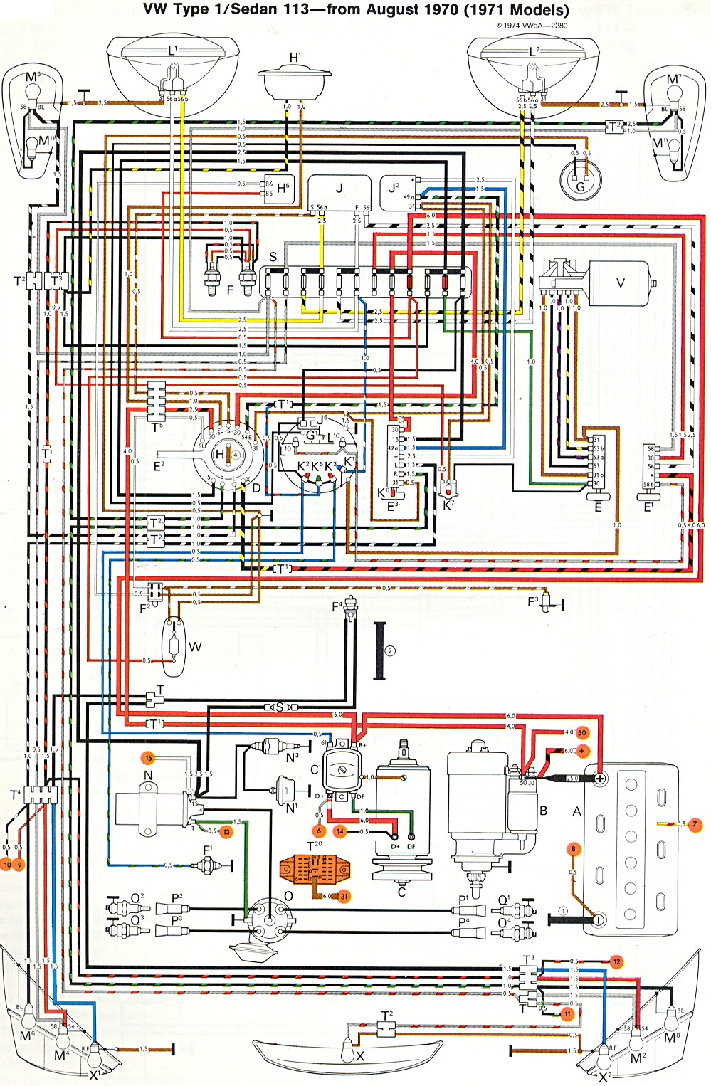1969 Vw Bug Wiring Schematic Thesamba Com Type 1 Wiring Diagrams