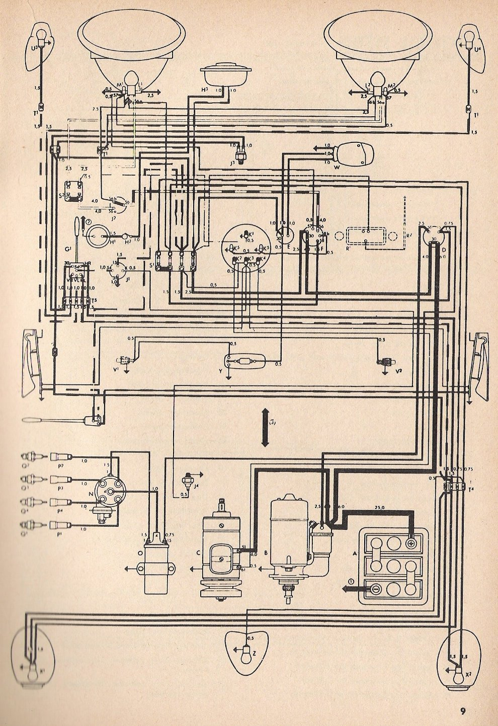 medium resolution of 1963 vw bug wiring diagram
