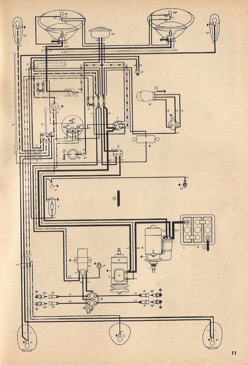 1966 Bug Wiring Diagram Schematic Thesamba Com Type 1 Wiring Diagrams