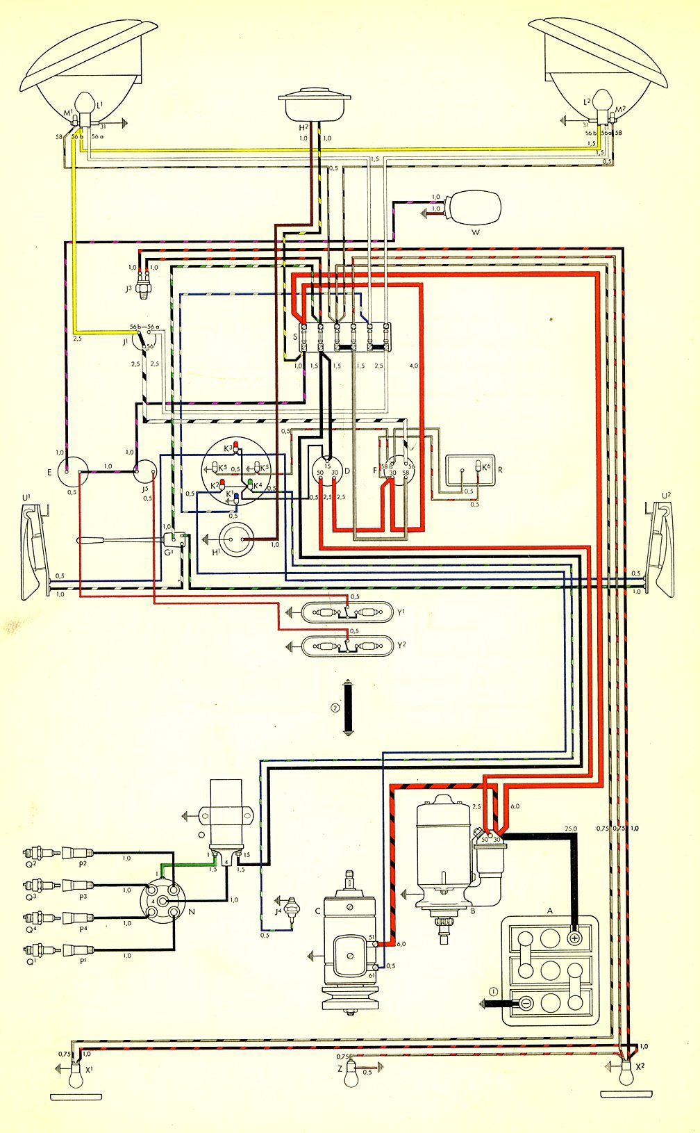 hight resolution of thesamba com type 2 wiring diagrams rh thesamba com 1968 volkswagen beetle wiring diagram 67 vw
