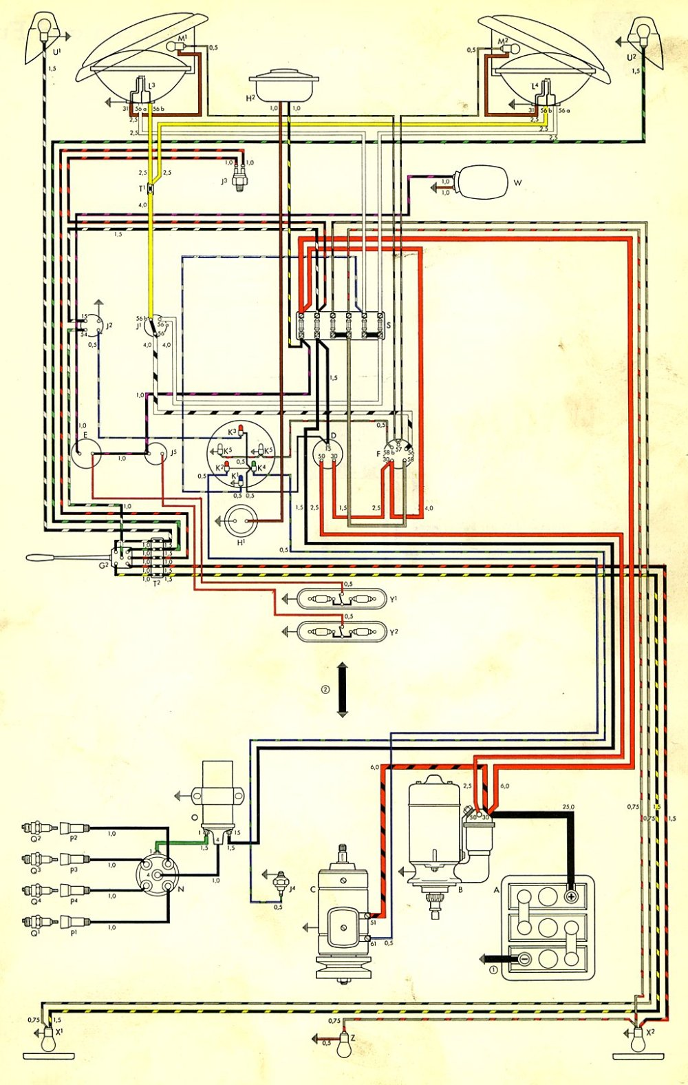 medium resolution of thesamba com type 2 wiring diagrams 1974 vw bus alternator wiring