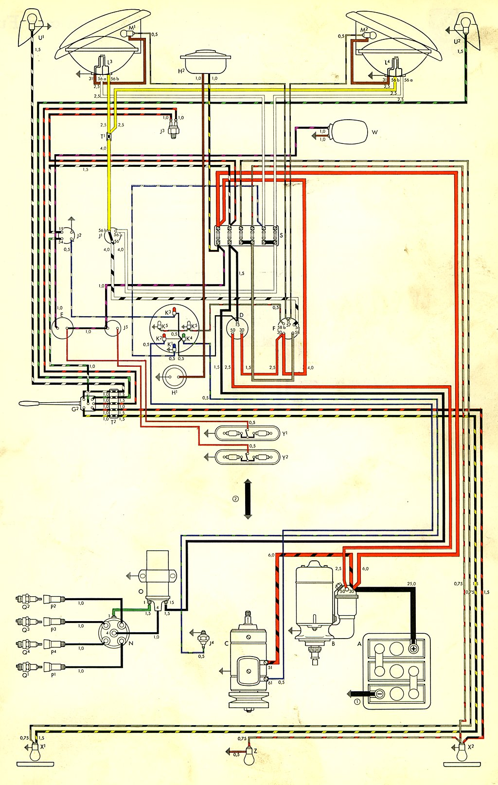 hight resolution of thesamba com type 2 wiring diagrams 1974 vw bus alternator wiring