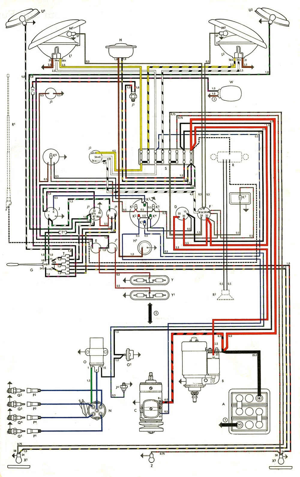 medium resolution of thesamba com type 2 wiring diagrams 1976 vw type 2 wiring altinator diagram