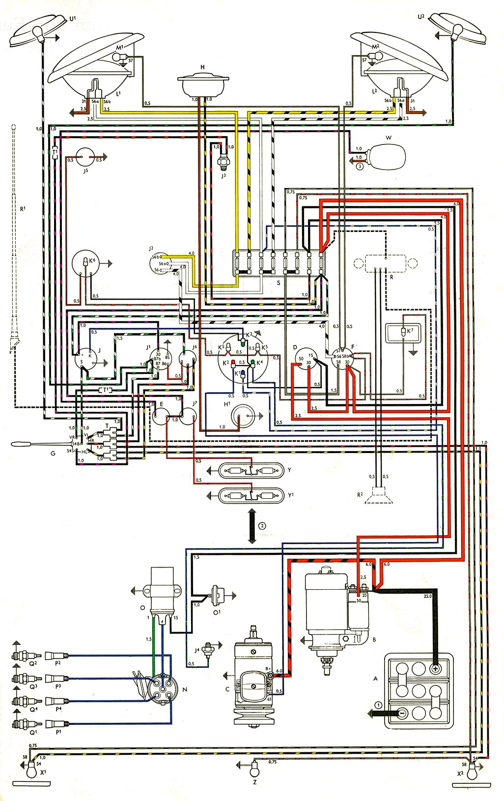 hight resolution of thesamba com type 2 wiring diagrams 1976 vw bus wiring schematic