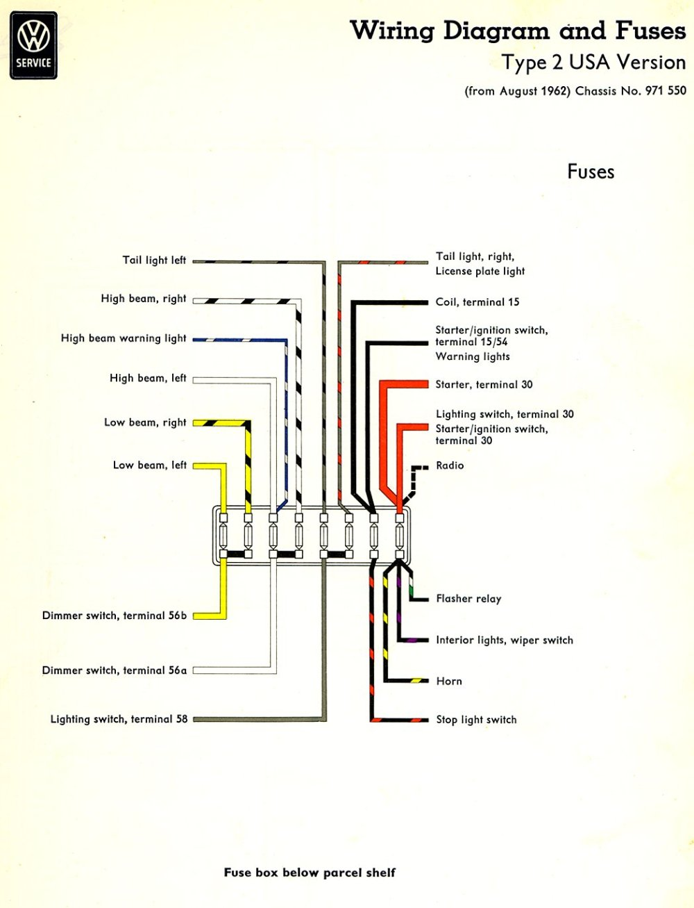 medium resolution of thesamba com type 2 wiring diagrams rh thesamba com 1972 vw super beetle fuse box diagram