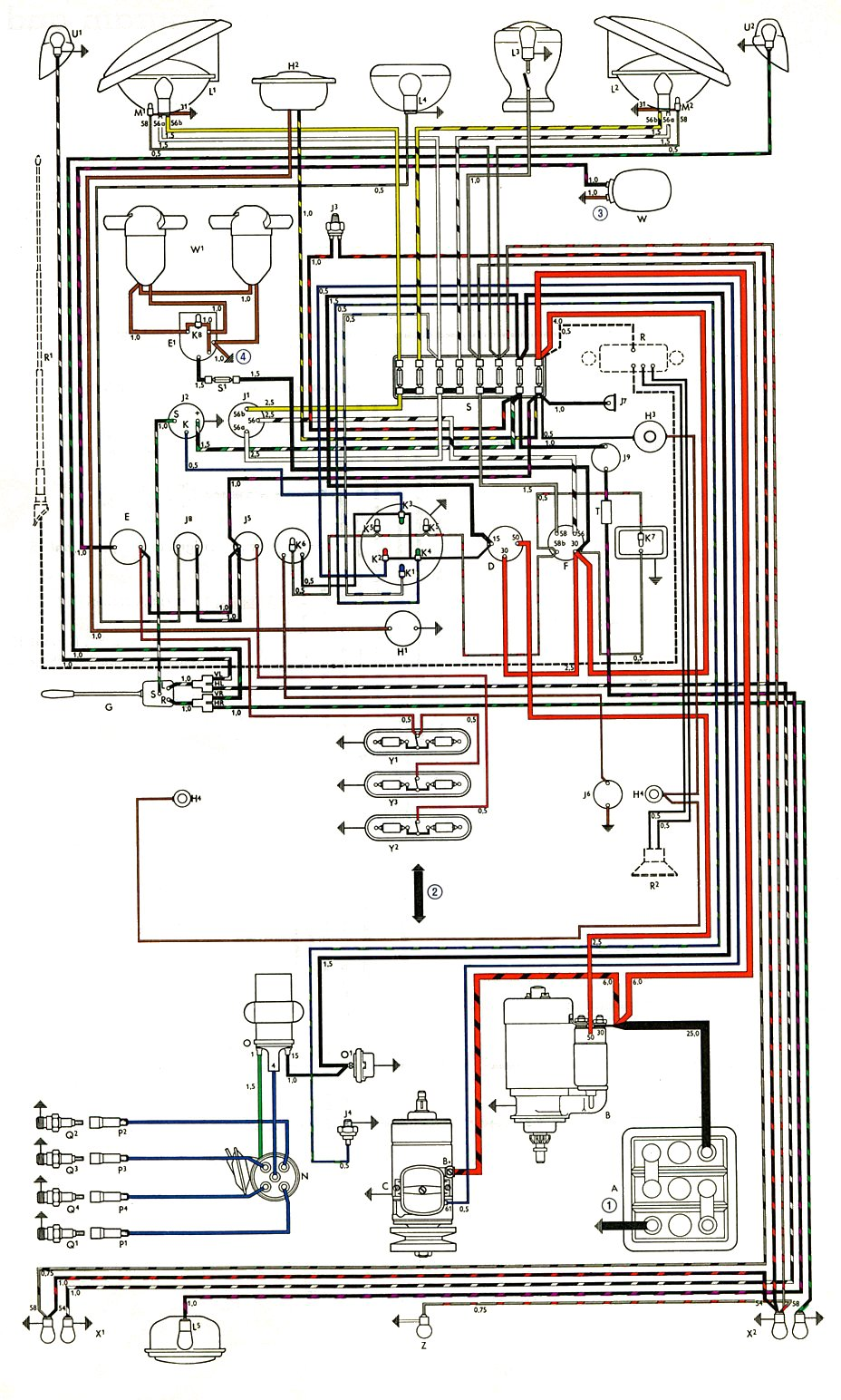hight resolution of thesamba com type 2 wiring diagrams split window vw bus fuse box