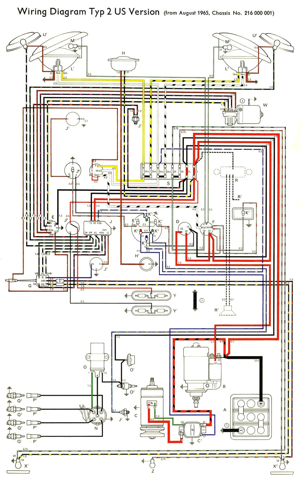 medium resolution of thesamba com type 2 wiring diagrams 1973 vw wiring 76 vw bus wiring diagram