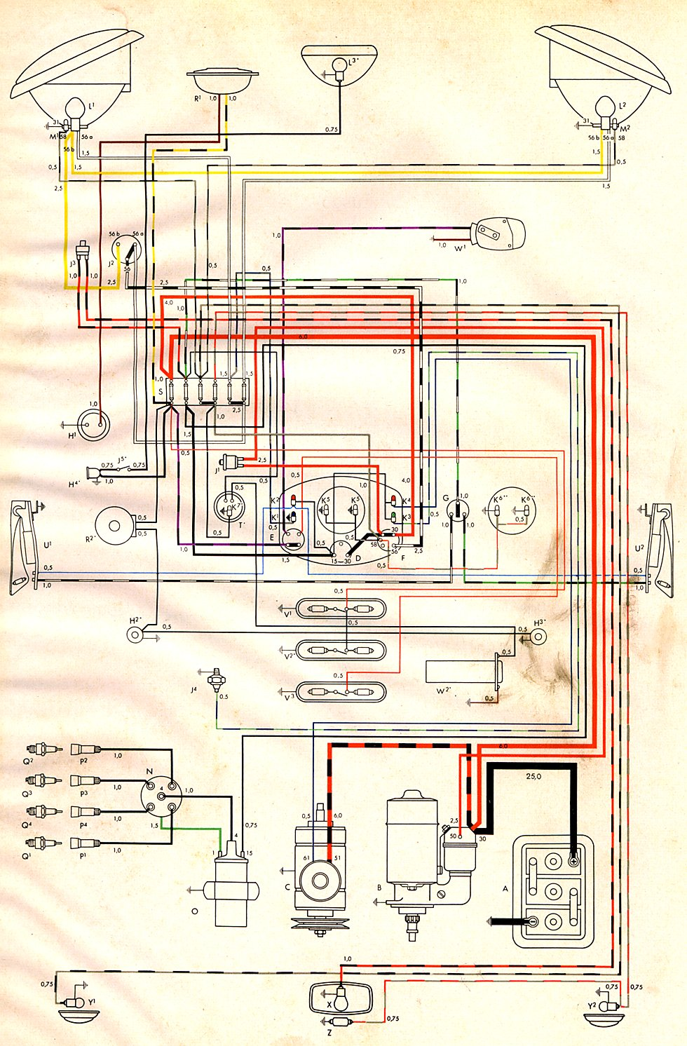 Beetle Fuse Diagram Wiring Schematic Thesamba Com Type 2 Wiring Diagrams