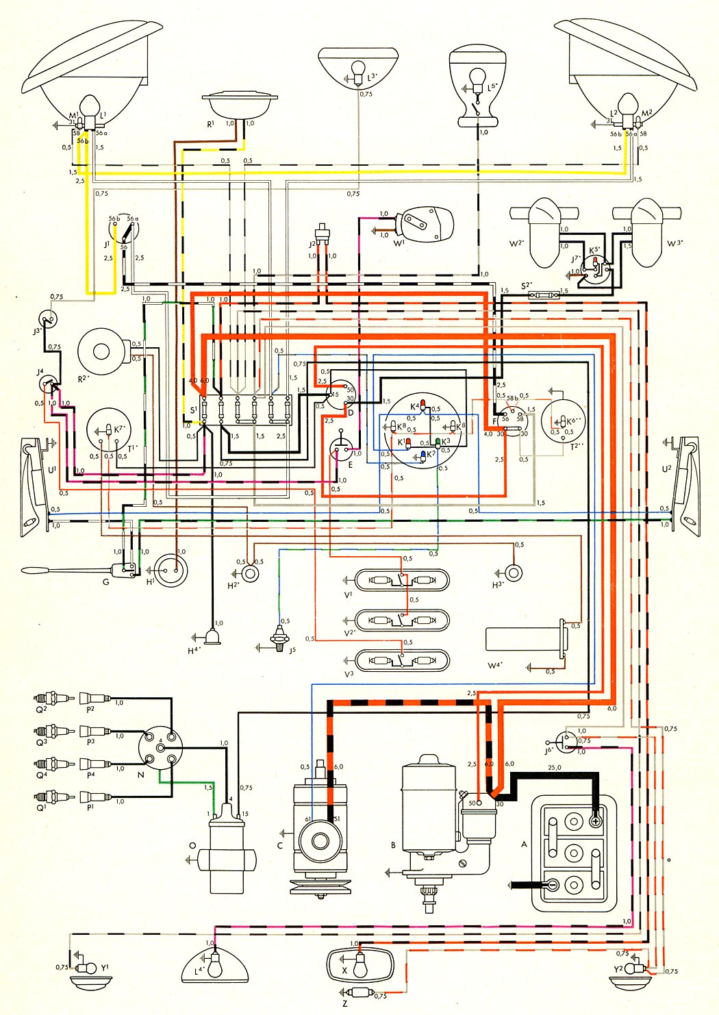 1973 vw transporter bus wiring diagram