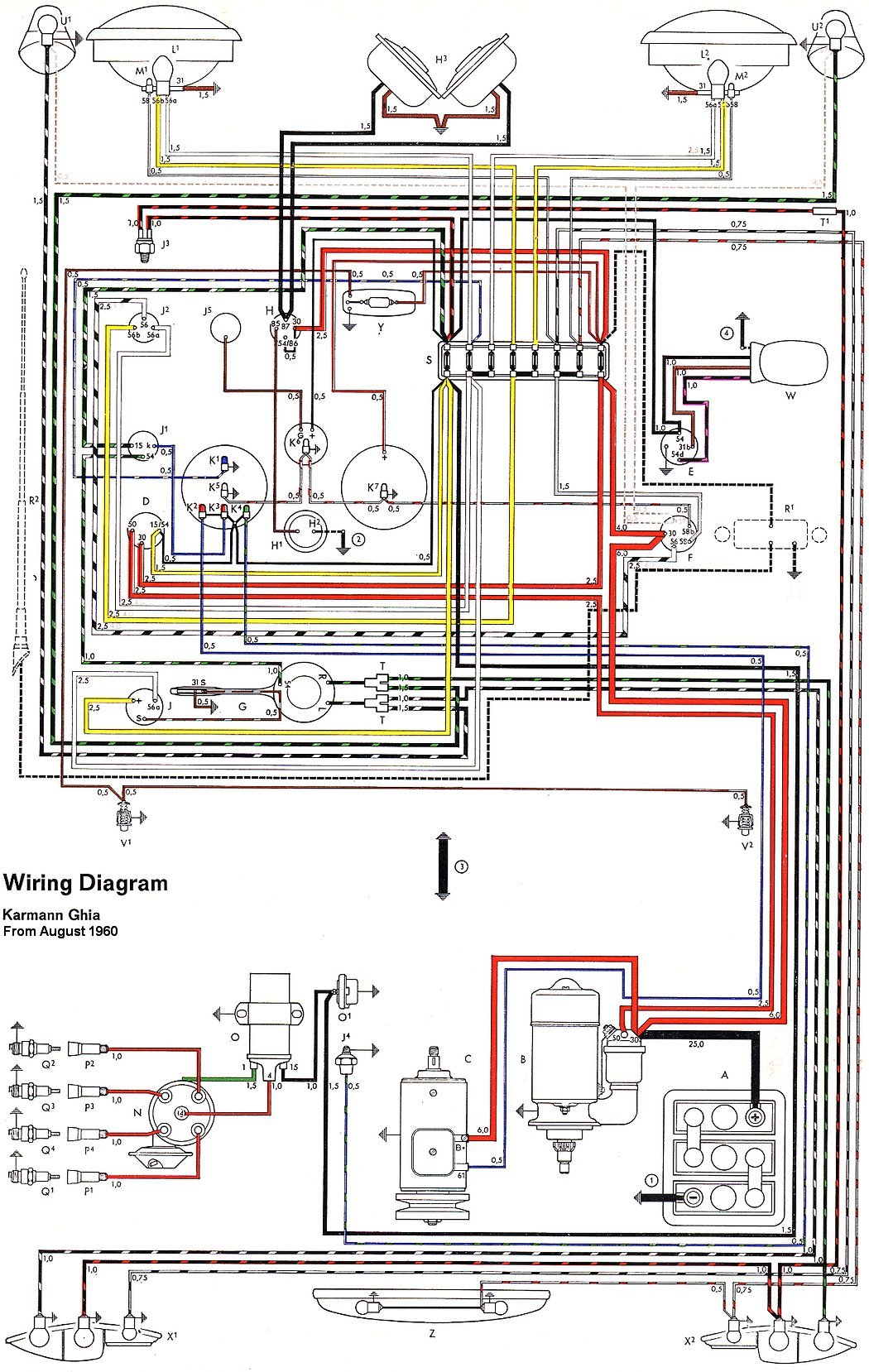 hight resolution of thesamba com karmann ghia wiring diagrams 1961 65