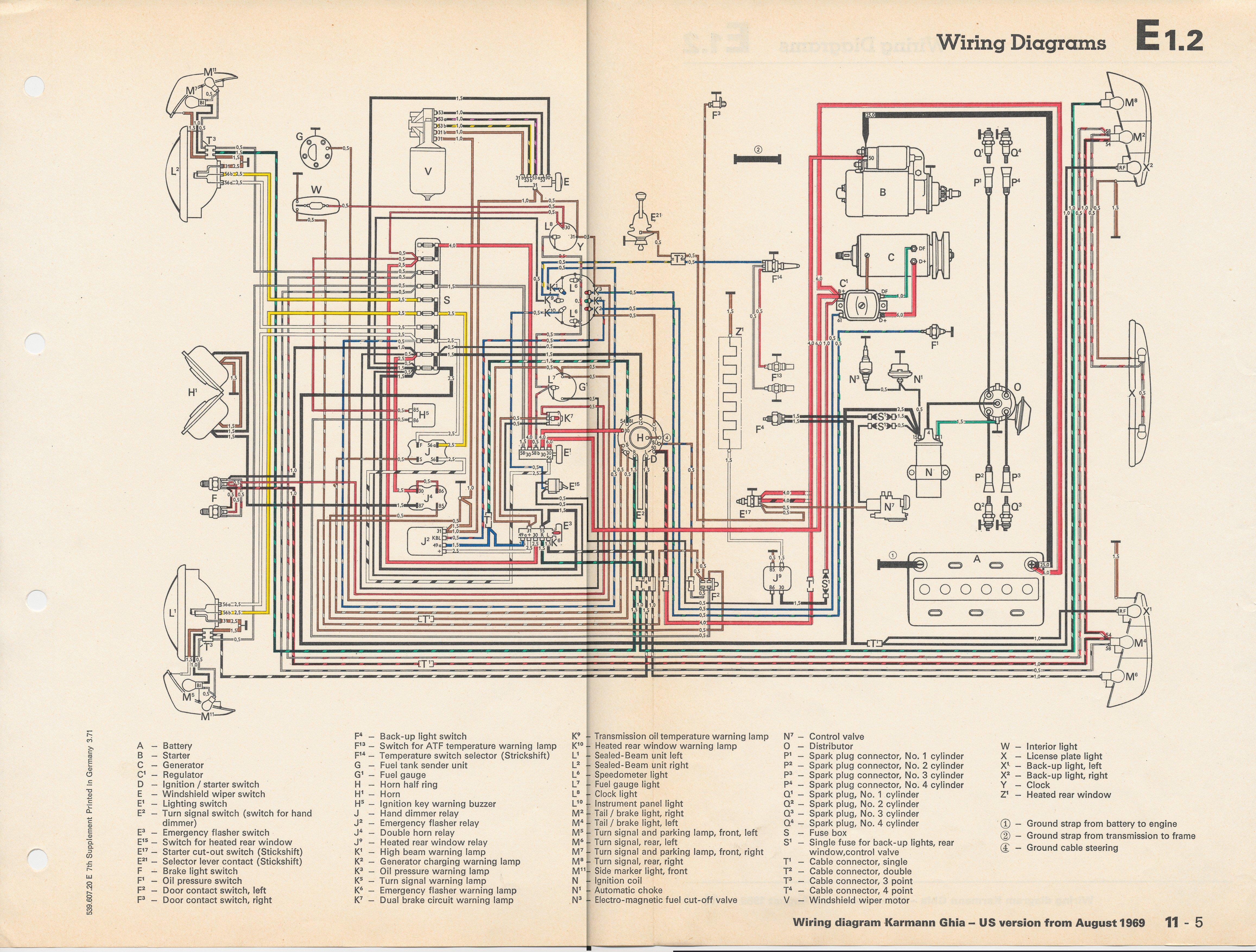 1966 Bug Wiring Diagram Schematic Thesamba Com Karmann Ghia Wiring Diagrams