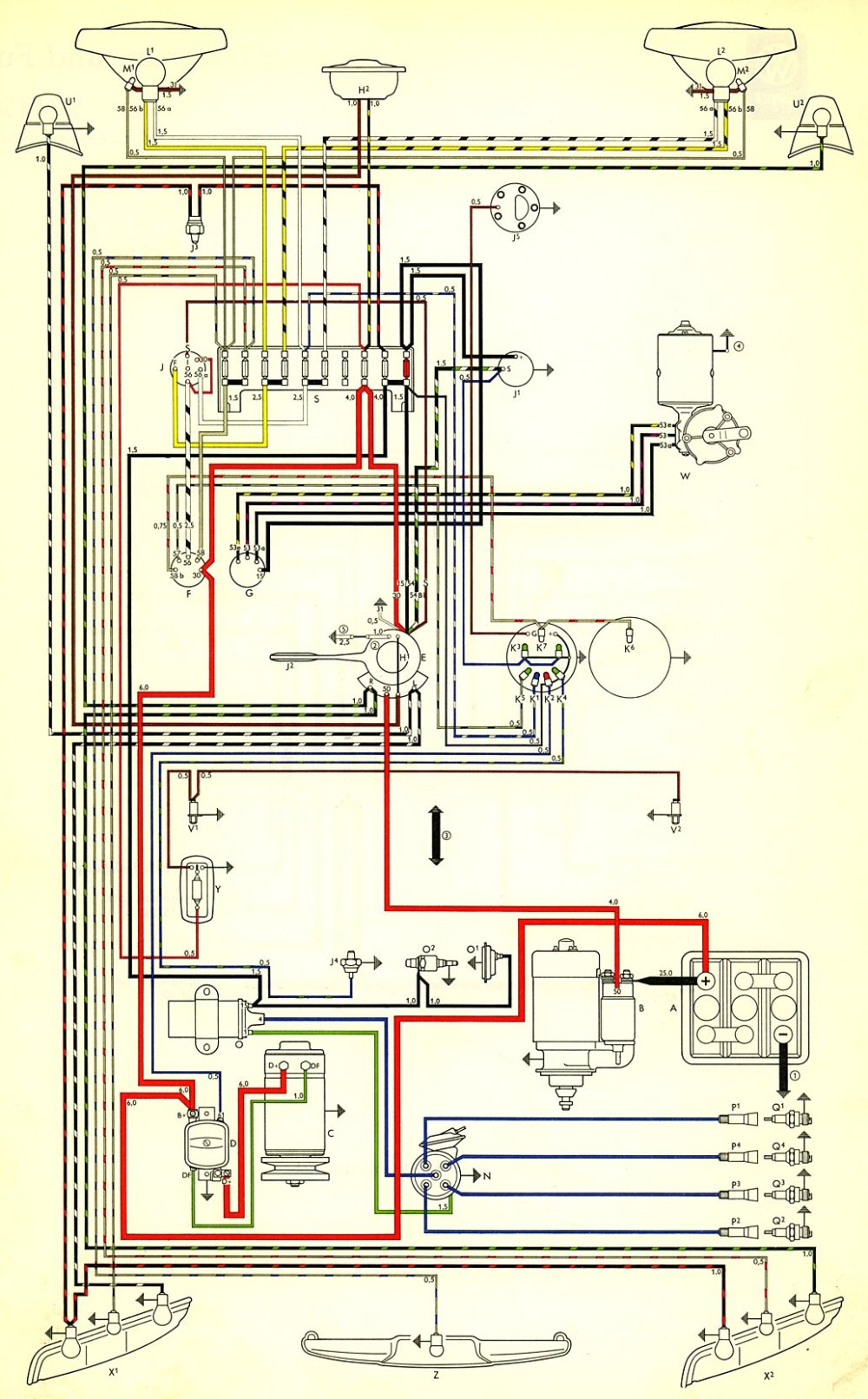 medium resolution of thesamba com type 3 wiring diagrams 73 vw squareback wiring diagram