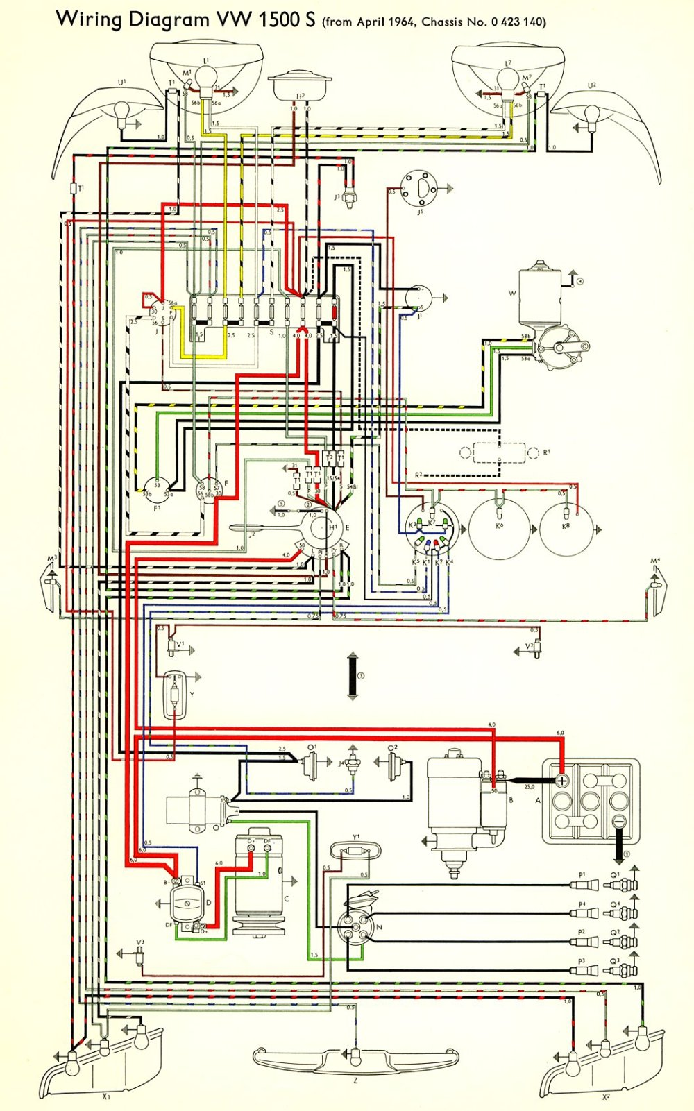 medium resolution of thesamba com type 3 wiring diagrams air cooled vw 1600 engine diagram type 1 vw engine