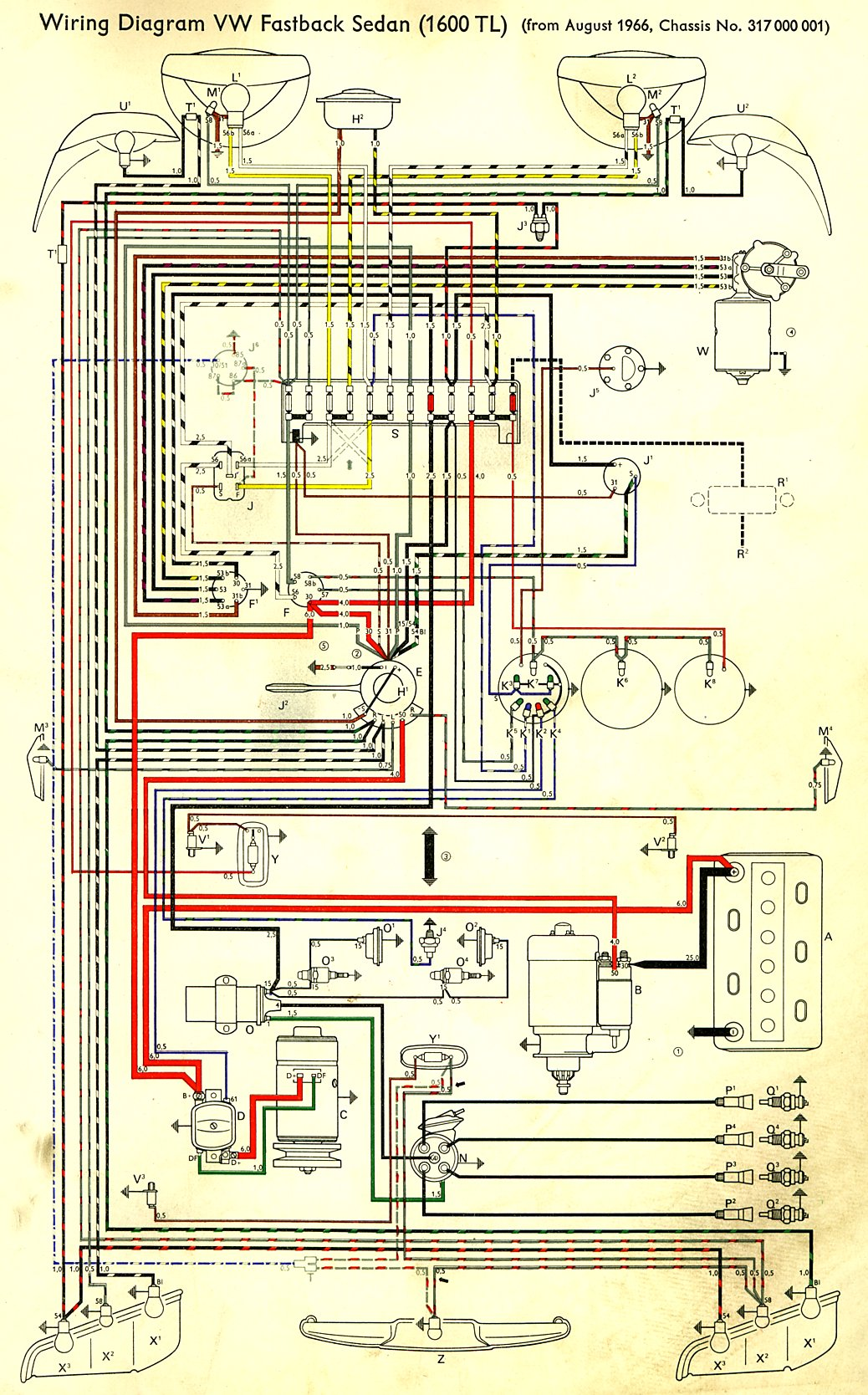 74 Beetle Wiring Diagram For Lights On Thesamba Com Type 3 Wiring Diagrams