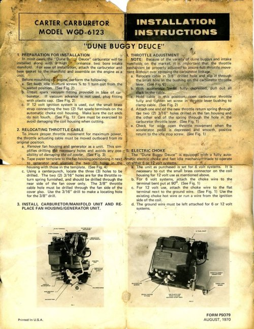 small resolution of carter carburetor model wgd 6123 dune buggy deuce