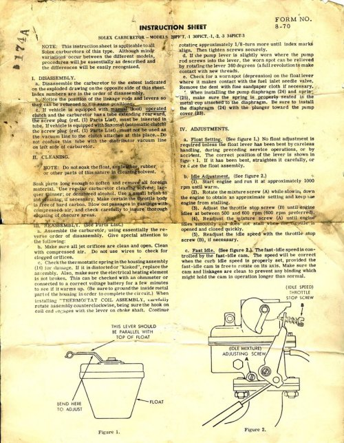 small resolution of solex 28 pict 1 rebuild instruction sheet