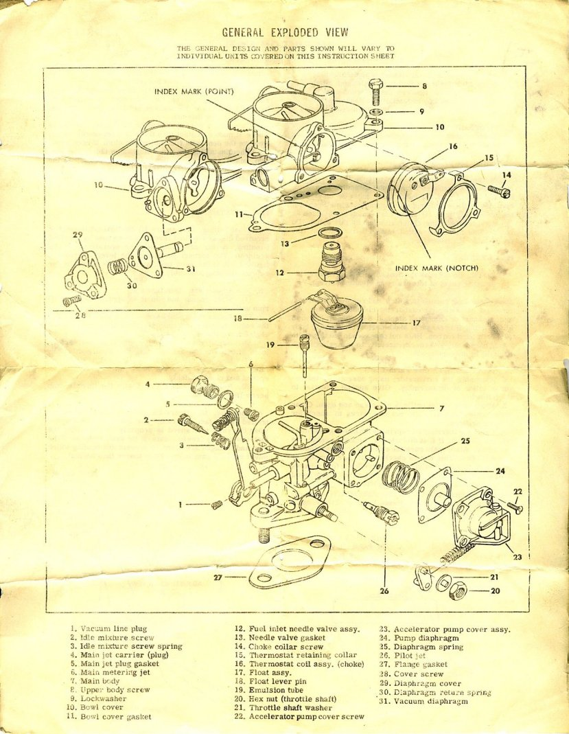 hight resolution of solex 28 pict 1 rebuild instruction sheet page 1 2 all upright