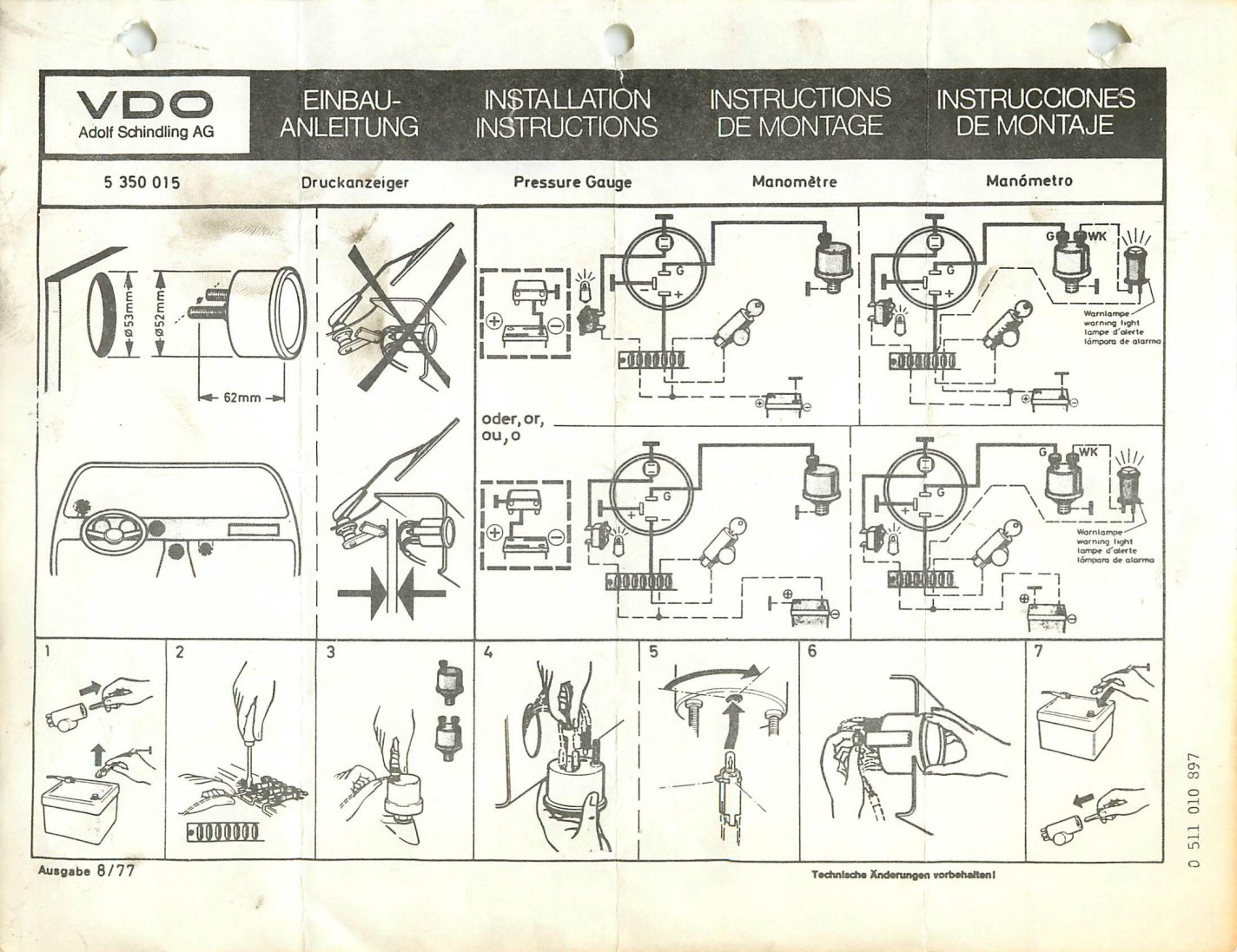 Vdo Trim Gauge Wiring Diagram Free Download Diagrams Cockpit Fuel Oil Installation Readingrat Net Pressure At Voltmeter