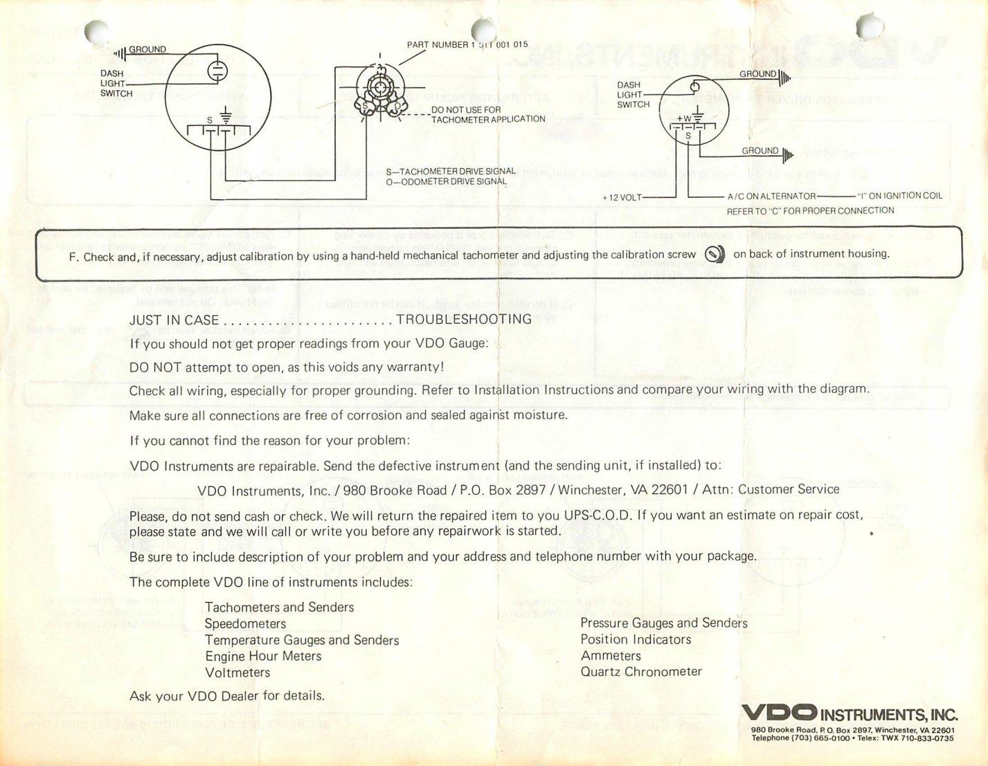vdo wiring diagram for tachometer vw golf mk5 stereo thesamba