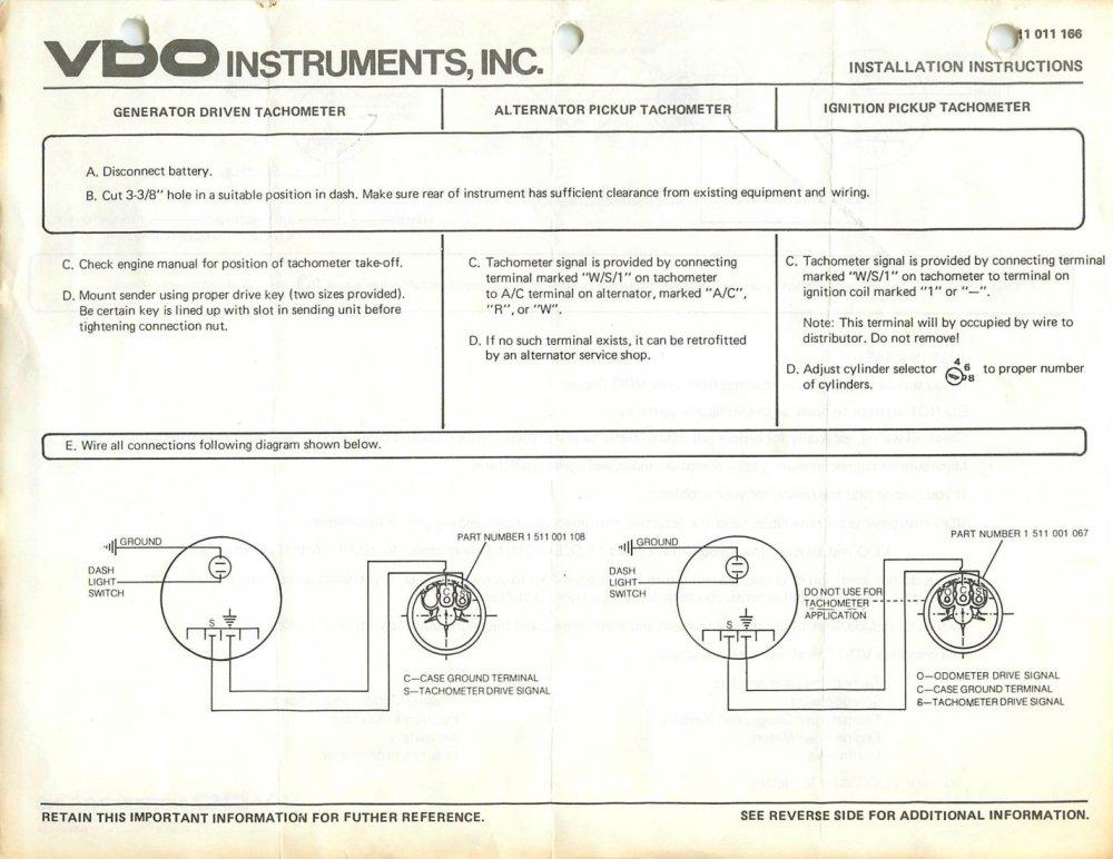 medium resolution of vdo tach wiring electric wiring diagram review vdo tachometer wiring diagram coil