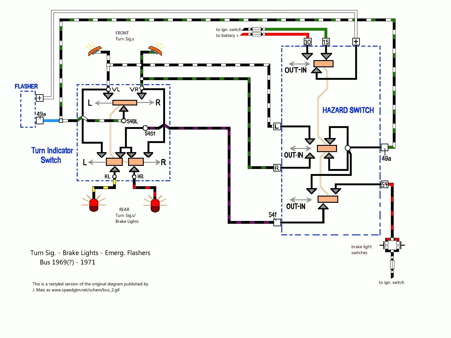 hight resolution of early bay brake and turn signal wiring diagram