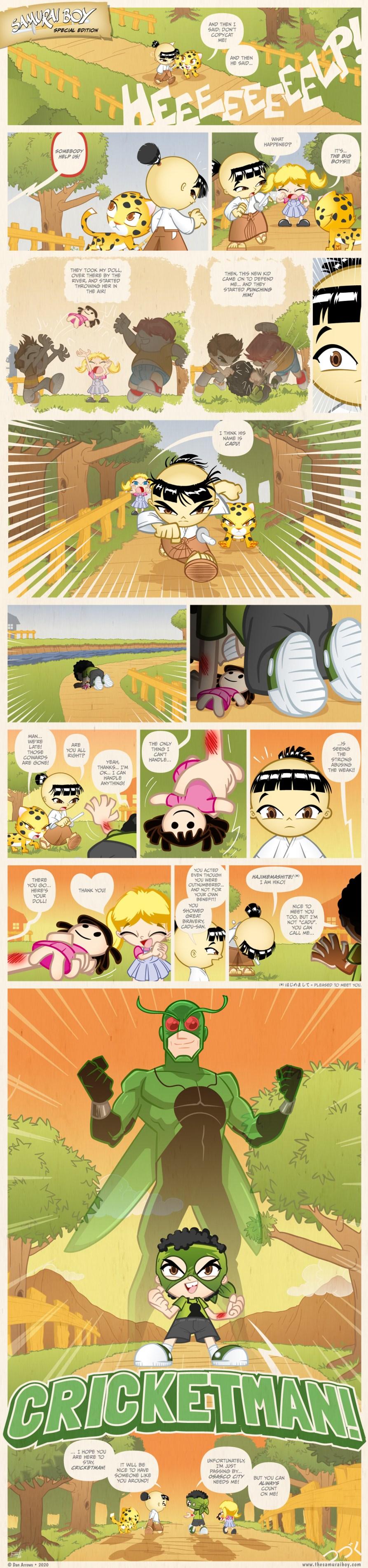Samurai Boy and CricketMan