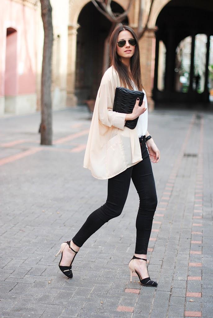 Neutral kimono with black pants and white top