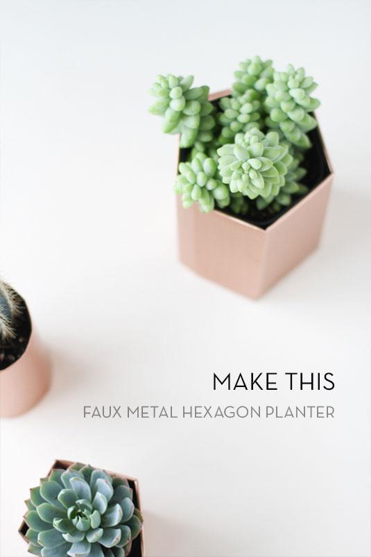 Faux Hexagon Planter