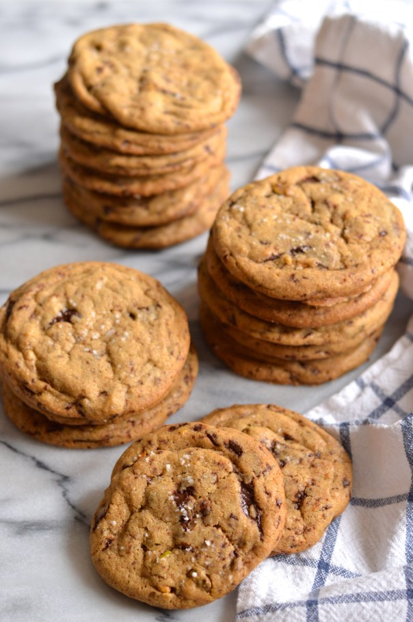 Pistachio and Dark Chocolate Chunk Cookies with Brown Butter and Fleur de Sel