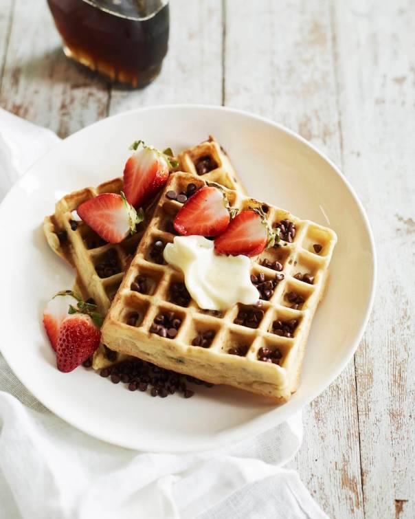 Chocolate Chip Almond Waffles