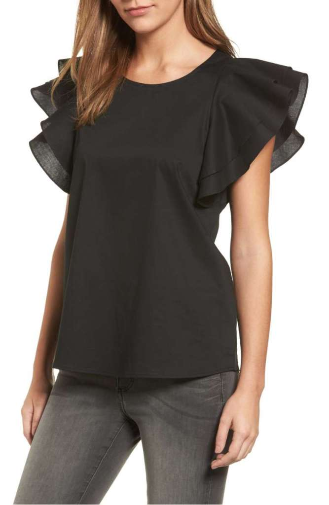 Pleione Double Ruffle Sleeve Blouse