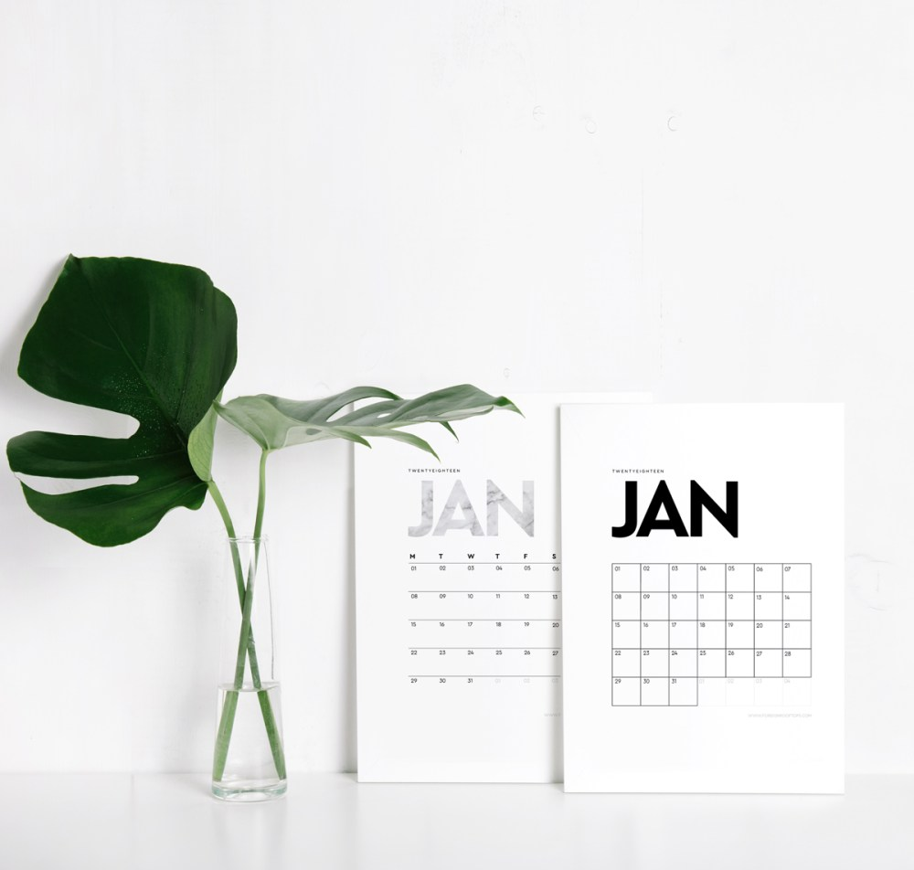 Minimal 2018 Calendar by Foreign Rooftops