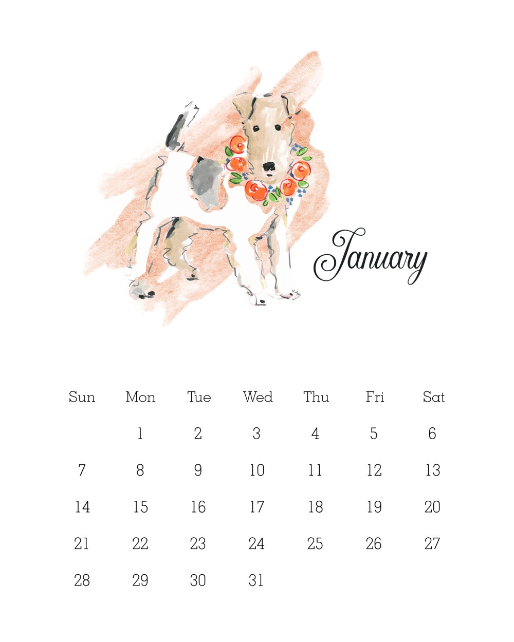 Free Printable 2018 Watercolor Dog Calendar by The Cottage Market