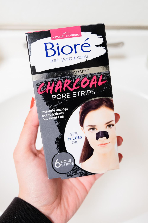 Biore Charcoal Pore Strips & Biore Charcoal Self Heating One Minute Mask