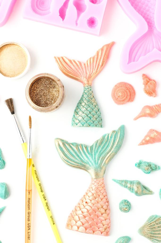 chocolate mermaid tails and edible gold dust