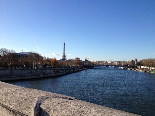 Crossing the Ponte de la Concorde Bridge - La Seine & the Eiffel Tower.