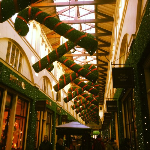 The ceiling of Covent Garden Market adorned with candy canes