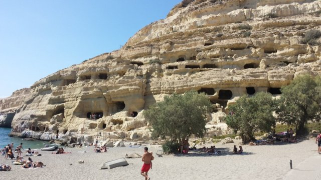 Matala Caves in Crete of the most beautiful Greek islands