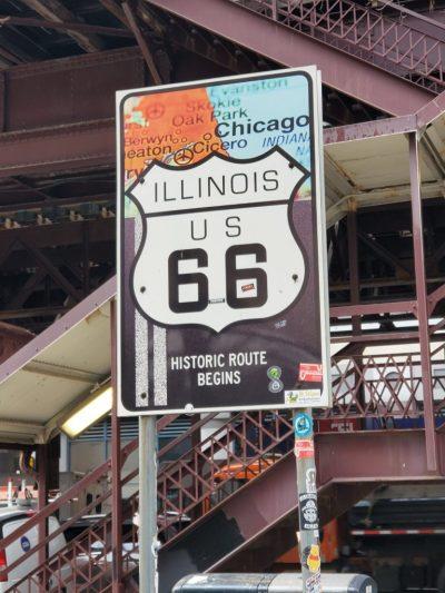 Illinois historic route 66 sign