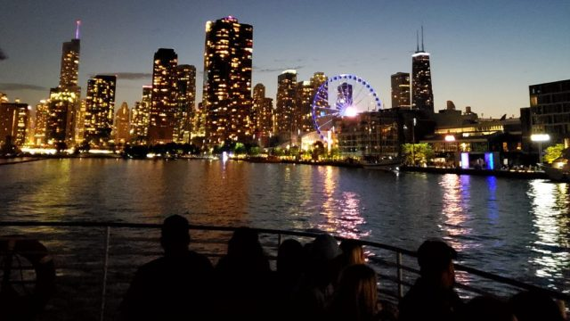 skyline from lake cruise in Chicago in the summer