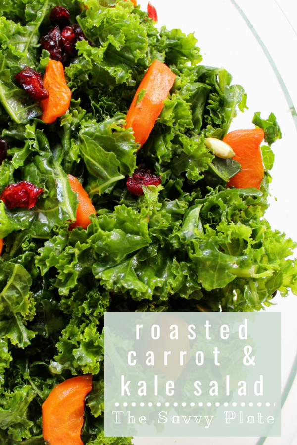 Massaged kale salad tossed with honey-roasted carrots, dried cranberries, pumpkin seeds, and a honey dijon dressing