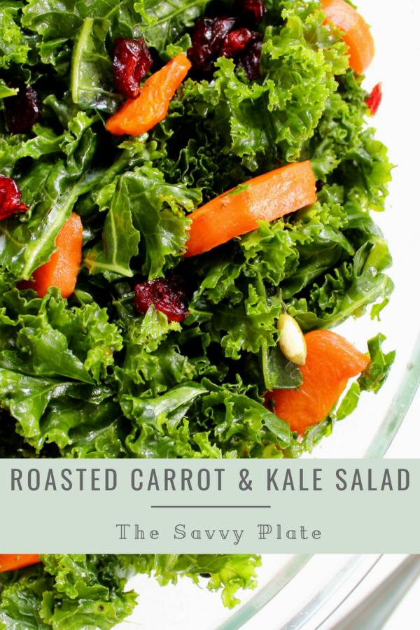 Massaged kale salad tossed with honey roasted carrots, dried cranberries, pumpkin seeds, and a honey dijon vinaigrette