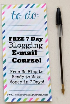 From no blog to making money blogging in 7 days! This course will help you pick a name, topic, and get your blog all set up! There will also be short lessons on e-mail list, social media, and affiliate links!