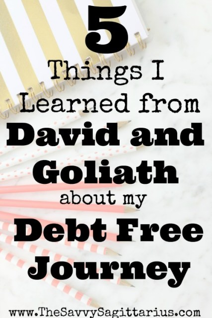The story of David and Goliath has been used to tell many lessons, but here are just a few of the things I learned while I was reading it and applying it to my Debt Free Journey. #davidandgoliath #debtfreejourney #lessonslearned #godonmyside #godlydebtfreejourney #withgodanythingispossible